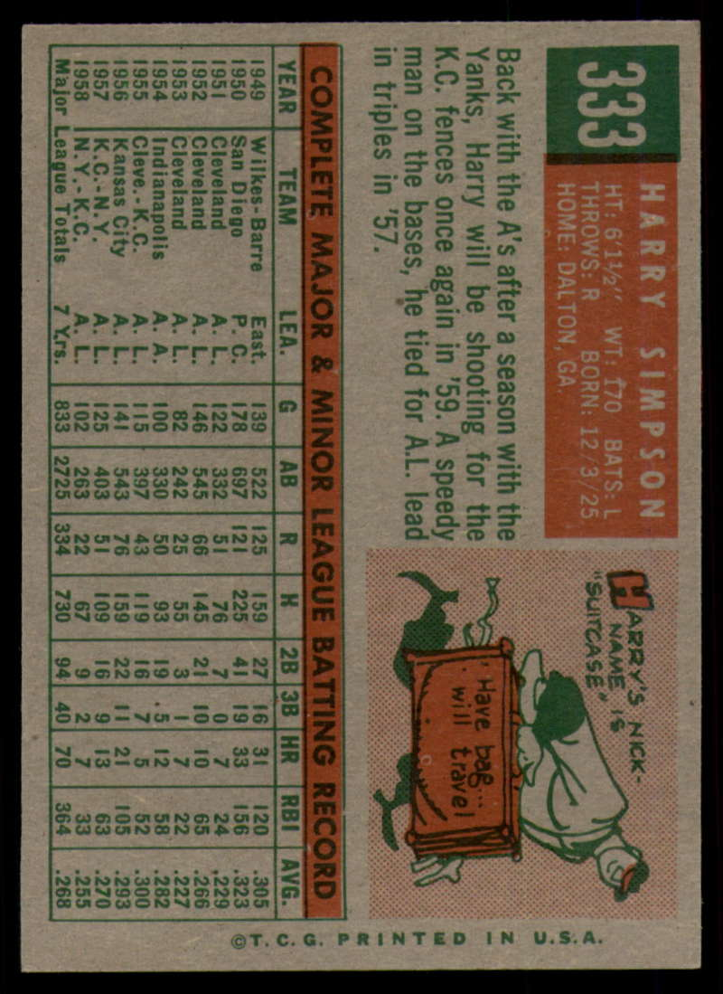 1959 Topps Baseball #331 #360 Complete your set Pick your card.