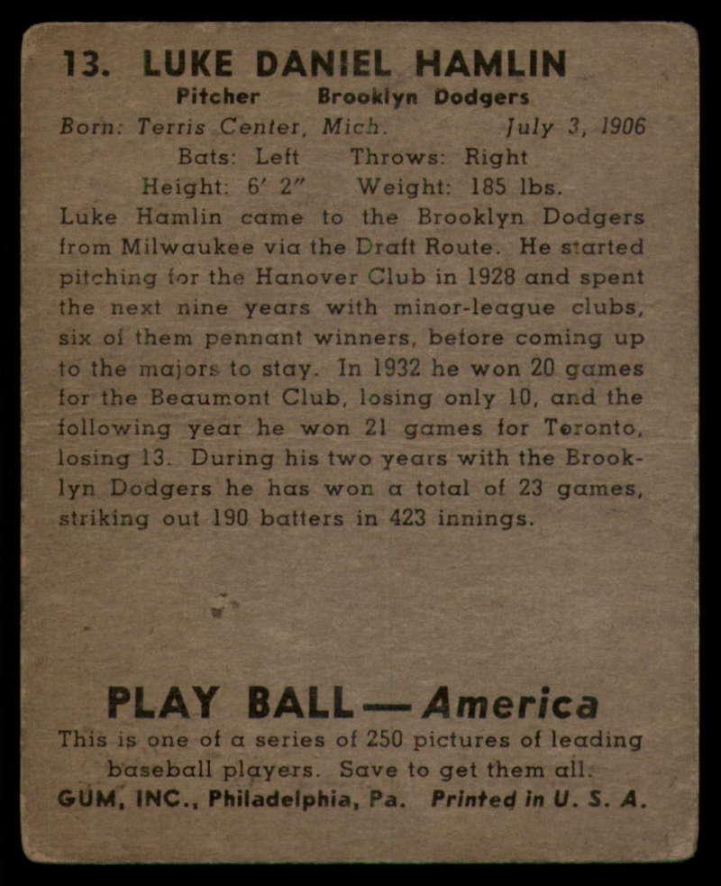 1939 Play Ball #13 Luke Hamlin VG Very Good Uppercase RC Rookie