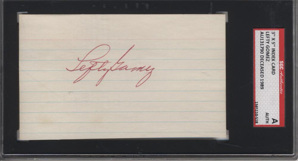 SGC Authentic #NO# Lefty Gomez signed index deceased 1989 Autograph Autograph