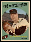 1959 Topps #28 Red Worthington NM Near Mint