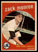 1959 Topps #108 Zack Monroe EX/NM RC Rookie