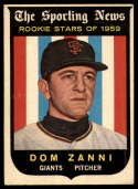 1959 Topps #145 Dom Zanni VG/EX Very Good/Excellent RC Rookie