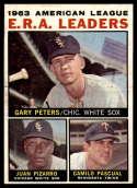 1964 Topps #2 Gary Peters/Juan Pizarro/Camilo Pascual AL E.R.A. Leaders EX Excellent