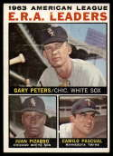 1964 Topps #2 Gary Peters/Juan Pizarro/Camilo Pascual AL E.R.A. Leaders VG/EX Very Good/Excellent