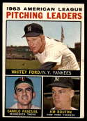 1964 Topps #4a Whitey Ford/Camilo Pascual/Jim Bouton AL Pitching Leaders ERR EX Excellent