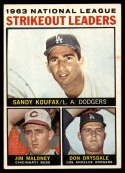 1964 Topps #5 Sandy Koufax/Jim Maloney/Don Drysdale NL Strikeout Leaders EX Excellent