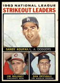 1964 Topps #5 Sandy Koufax/Jim Maloney/Don Drysdale NL Strikeout Leaders EX++ Excellent++