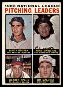 1964 Topps #3 Sandy Koufax/Marichal/Spahn/Maloney NL Pitching Leaders EX Excellent