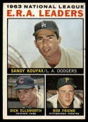1964 Topps #1 Sandy Koufax/Dick Ellsworth/Bob Friend NL E.R.A. Leaders VG Very Good
