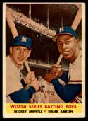 1958 Topps #418 Mickey Mantle/Hank Aaron World Series Batting Foes VG/EX Very Good/Excellent
