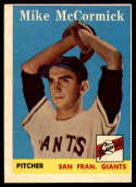 1958 Topps #37 Mike McCormick UER VG/EX Very Good/Excellent RC Rookie