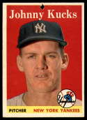 1958 Topps #87 Johnny Kucks P Poor hole