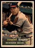 1957 Topps #4 Johnny Logan hole