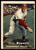 1957 Topps #129 Saul Rogovin VG/EX Very Good/Excellent