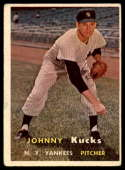 1957 Topps #185 Johnny Kucks VG/EX Very Good/Excellent