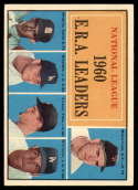 1961 Topps #45 McCormick/Broglio/Don Drysdale/Friend/Williams NL E.R.A. Leaders VG/EX Very Good/Excellent
