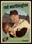 1959 Topps #28 Red Worthington EX Excellent