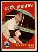 1959 Topps #108 Zack Monroe VG Very Good white back RC Rookie
