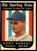 1959 Topps #127 Kent Hadley EX Excellent white back RC Rookie