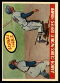 1959 Topps #467 Hank Aaron Aaron Clubs World Series Homer EX Excellent