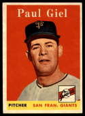 1958 Topps #308 Paul Giel UER EX/NM