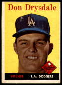 1958 Topps #25 Don Drysdale VG Very Good