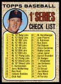 1968 Topps #67 Jim Kaat Checklist 1-109 EX/NM
