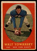 1958 Topps #101 Walt Yowarsky G Good