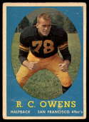 1958 Topps #64 R.C. Owens UER VG Very Good RC Rookie