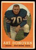 1958 Topps #106 Art Donovan VG Very Good
