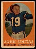 1958 Topps #22 Johnny Unitas UER G/VG Good/Very Good
