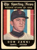 1959 Topps #145 Dom Zanni VG Very Good Gray back RC Rookie