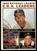 1964 Topps #1 Sandy Koufax/Dick Ellsworth/Bob Friend NL E.R.A. Leaders EX Excellent
