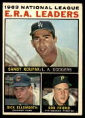 1964 Topps #1 Sandy Koufax/Dick Ellsworth/Bob Friend NL E.R.A. Leaders VG/EX Very Good/Excellent