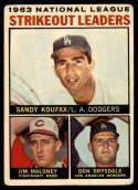 1964 Topps #5 Sandy Koufax/Jim Maloney/Don Drysdale NL Strikeout Leaders mark