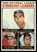 1964 Topps #5 Sandy Koufax/Jim Maloney/Don Drysdale NL Strikeout Leaders VG/EX Very Good/Excellent