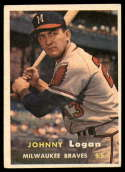 1957 Topps #4 Johnny Logan VG/EX Very Good/Excellent