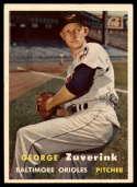 1957 Topps #11 George Zuverink VG/EX Very Good/Excellent