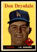 1958 Topps #25 Don Drysdale EX Excellent