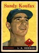 1958 Topps #187 Sandy Koufax VG Very Good