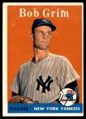 1958 Topps #224 Bob Grim VG/EX Very Good/Excellent