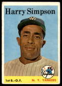 1958 Topps #299 Harry Simpson VG Very Good