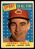 1958 Topps #478 Johnny Temple UER AS VG/EX Very Good/Excellent