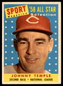 1958 Topps #478 Johnny Temple UER AS VG Very Good
