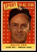 1958 Topps #479 Nellie Fox AS VG/EX Very Good/Excellent