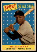 1958 Topps #486 Willie Mays AS VG/EX Very Good/Excellent