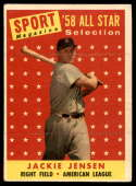 1958 Topps #489 Jackie Jensen AS VG/EX Very Good/Excellent