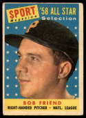 1958 Topps #492 Bob Friend AS P Poor