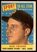 1958 Topps #492 Bob Friend AS VG Very Good