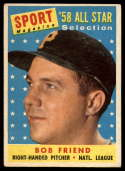 1958 Topps #492 Bob Friend AS VG/EX Very Good/Excellent